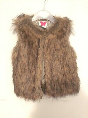 John Lewis Girls Brown Faux Fur Warm Gilet Jacket Coat Age 2 BNWOT GORGEOUS