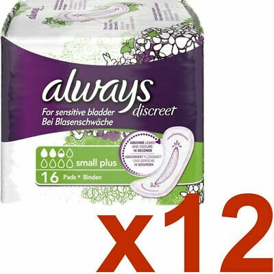 Always Discreet Sensitive Bladder Incontinence Pads Liners Small Plus - 192 Pack