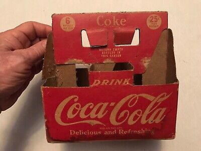 1940's Vintage Coca Cola Cardboard 6 Pack Bottle Carrier