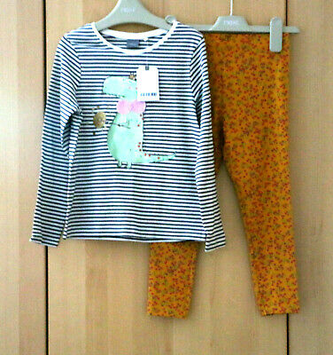 Next Girls Stripe Long Sleeve Top & Ochre Leggings  Age 5-6 Years BNWT