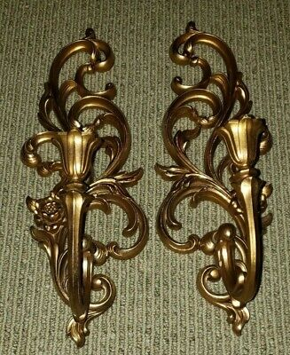 Vintage Mid Century Syroco Wall Sconce Candle Stick Holder Golden Plastic 16½""