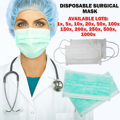 1 – 1000 X Disposable Face Surgical Medical Mask Dental Anti Dust Flu Face 2 Ply