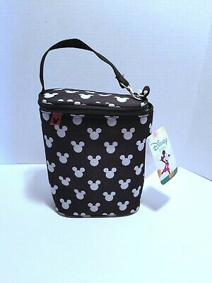 Disney Baby Mickey Mouse Insulated Double Bottle Holder New Black White