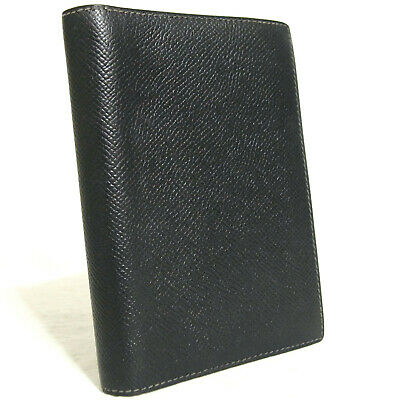 Auth Vintage Hermes Black Leather Agenda Notebook Cover Made France B in Square