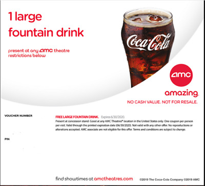 Four (4) AMC Large Drink Vouchers - Expire - 12/31/2020