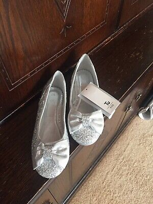 Girls Silver Glitter Party Shoes Size 13