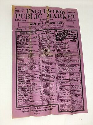 Vtg Miller's Public Market Grocery Advertising Paper Poster Prices Englewood CO