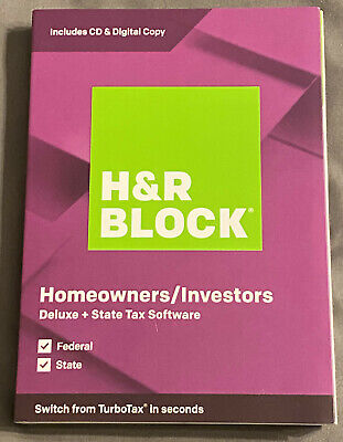 H&R Block Deluxe + State Tax Software 2019 New Retail Box 735290106810