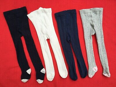 Baby Girls ~ 4x Tights Bundle ~ 6-12mths ~ Patterned Knit ~ inc White Co. & Next