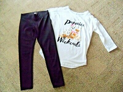 JUSTICE girls size 10  BLACK LEGGINGS and 3/4 SLEEVE PUPPY and WEEKENDS SHIRT