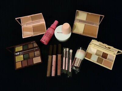 Revolution set of makeup cosmetics lip gloss eye palette bronzer blusher powder