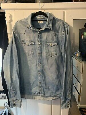 Mens All Saints Blue Denim Shirt Jacket Slim Fit Medium