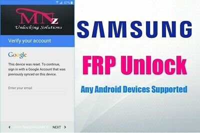 Samsung FRP Lock Google Account Removal/Reset All Models S10 S8 S9 S9+ NOTE Tab