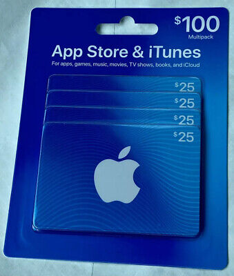 Apple iTunes Gift Cards Card $100 (4 $25) Brand New Sealed Free Shipping