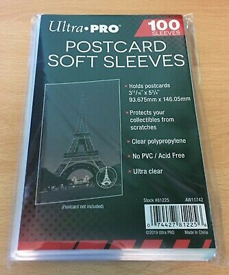 100 x CLEAR SOFT SLEEVES - Ultra Pro 93 x 146mm for standard size postcards NEW