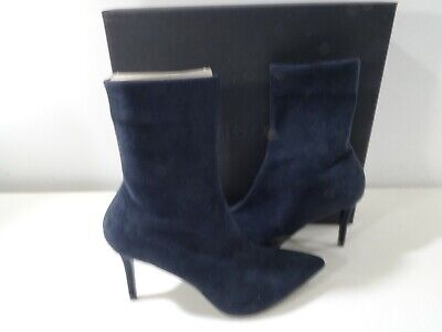 Theory Women's Suede Sock Boot Ankle Boots Sz 41 510.00 Navy Blue