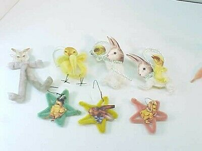 7 Vintage Style Chenille Pipe Cleaner & Paper Easter Ornaments