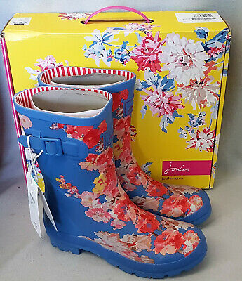 Joules Molly Welly Blue Floral Wellingtons Wellies Mid Height Festival Box Sz 7