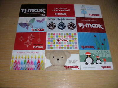 T J Maxx   12 different new collectible gift cards