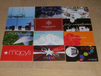 Land's End and Macy's    12 different new collectible gift cards