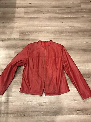 Womens genuine leather jacket red size 16