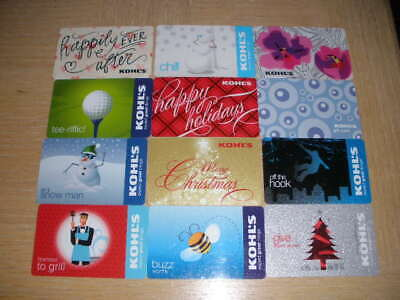 Kohl's      12 different new and used collectible gift cards