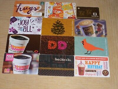 Coffee   12 different new and used collectible gift cards