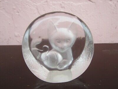 Zajecar Crystal Etched Clear Glass Cat and Yarn Figurine Paperweight for sale!!!
