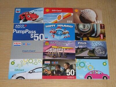 Gas Stations   12 different new and used collectible gift cards