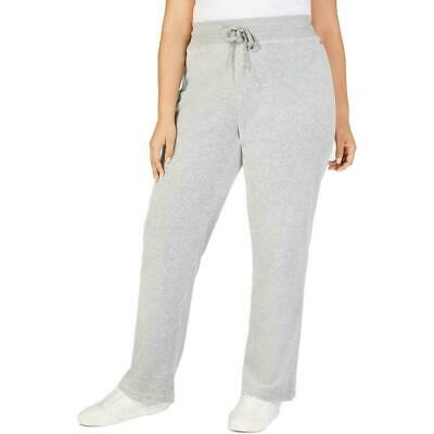 Calvin Klein Womens Plus 2X Pants Wide Leg Gray Velour Lounge Pants
