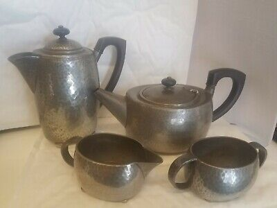"Liberty & Co "" tudric "" pewter Teapot  Coffee Pot Sugar Bowl and Milk Jug"