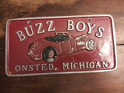 Vintage BUZZ BOYS CAR CLUB PLAQUE LICENSE PLATE..ONSTED, MI