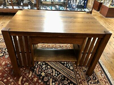 1930's Arts & Crafts/Mission Red Oak Desk w/ Double Bookends