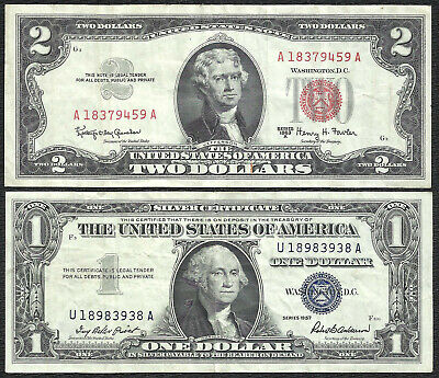 1963A $2 RED! 1957 $1 **SILVER** 2 Notes! VF! Old US Paper Money Currency