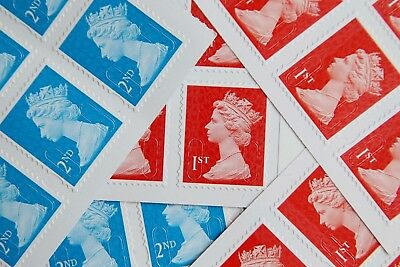 50 100 200 500 1St & 2Nd Class Royal Mail Unfranked Stamps Off Paper No Gum