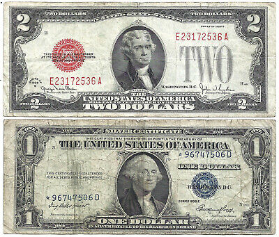 1928G $2 RED! 1935E $1 **~STAR~** 2 Notes! Old US Paper Money Currency!
