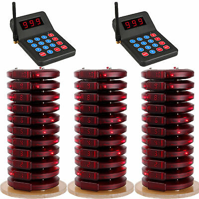 Restaurant Fast Food Wireless Queue Paging System 2Transmitter&30 Coaster Pagers