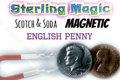 MAGNETIC SCOTCH & SODA Magic Trick Close Up Money Coin Half Dollar English Penny