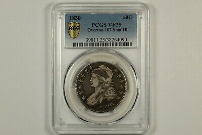 1830 Capped Bust Half Dollar PCGS VF25 Small 0
