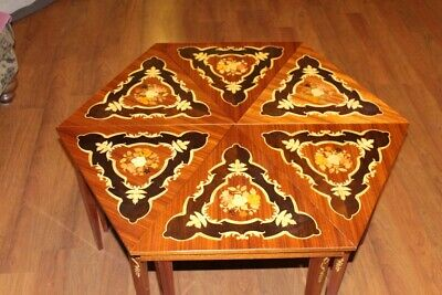 Vintage Italian Inlaid Wood Hexagon Coffee Table  Excellent Condition