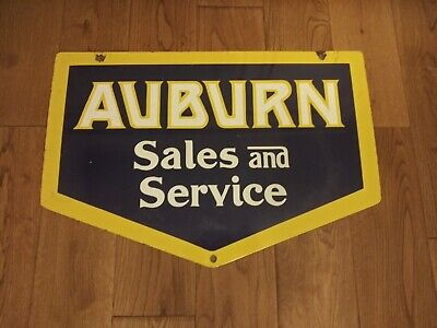 Vintage 1970's Auburn Sales and Service Porcelain Sign
