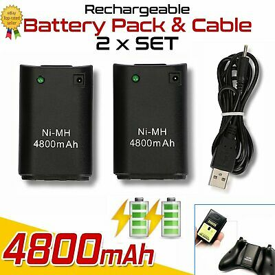 Rechargeable 4800Mah Battery Pack Charger Cable For Xbox 360 Wireless Controller