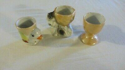VINTAGE 3 egg cups spaniel terrier puppy duck footed lustre wear japan