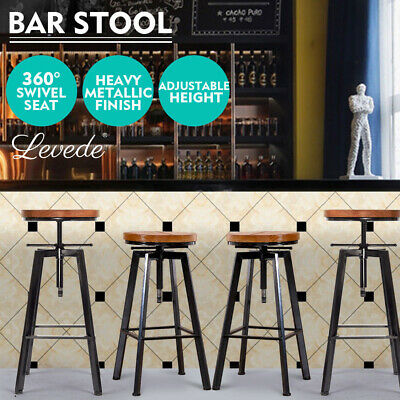 4x Levede Industrial Bar Stools Kitchen Stool Wooden Barstools Swivel Vintage