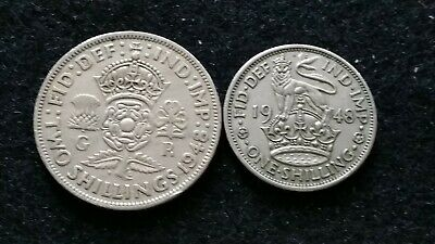 1948 Two Shillings & 1 Shilling George Vi English Coins   # 71