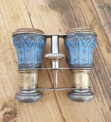 French 1800s Vintage Antique Opera Glasses Brass/Enamel Blue Rare and Restored