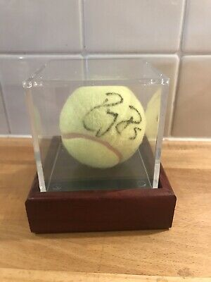 Roger Federer Signed Tennis Ball in Display Case