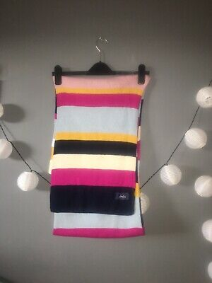 Joules Striped Bluestripe Winter Scarf Womens Accessory Scarf One Size