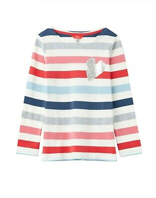 NEW! Joules Harbour Luxe Girls Stripe Top w/ Sequin Heart Age 5-10 years