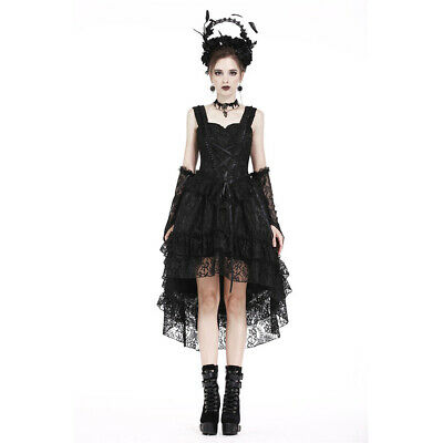 Dark In Love Gothic Goth Okkult HIgh-Low Cocktailkleid - Lolita Lace Spitze